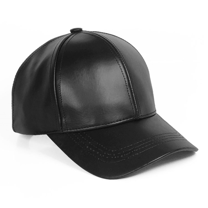 leather baseball cap with fur pom wholesale black faux sports caps