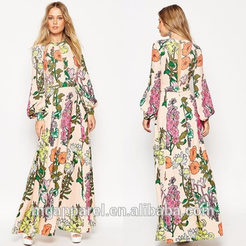 0fecd3d14a63 OEM Wholesale maxi dresses online 100% Polyester high neck button back  crepe floral print long