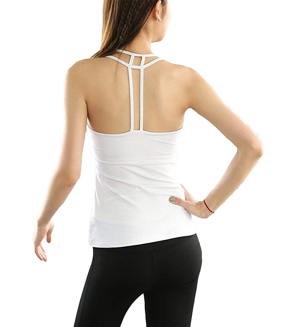 f4f0809e202c2 Get Quotations · MaxxCloud Women Workouts Activewear Yoga Tops Open Back  Racerback Sports Tank Tops Built in Bra