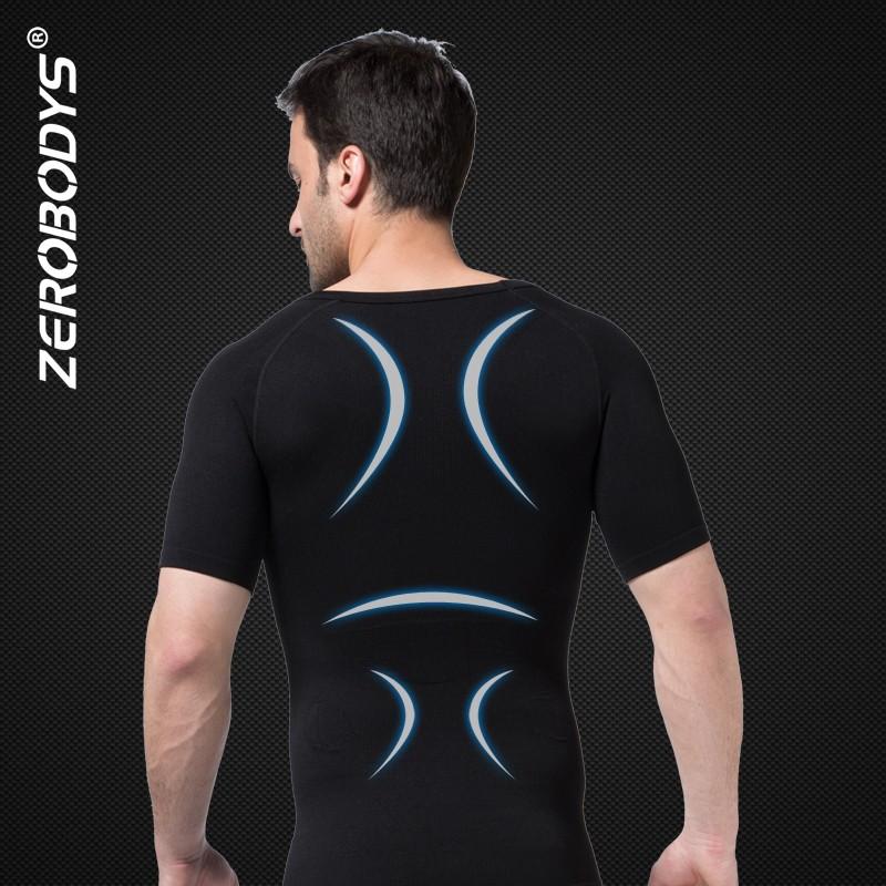 17c68301d32dd 349 BK ZEROBODYS Comfortable Mens Body Shaper Short Sleeve Undershirt  Bodysuits for Adult Compression Clothing Corset Tops