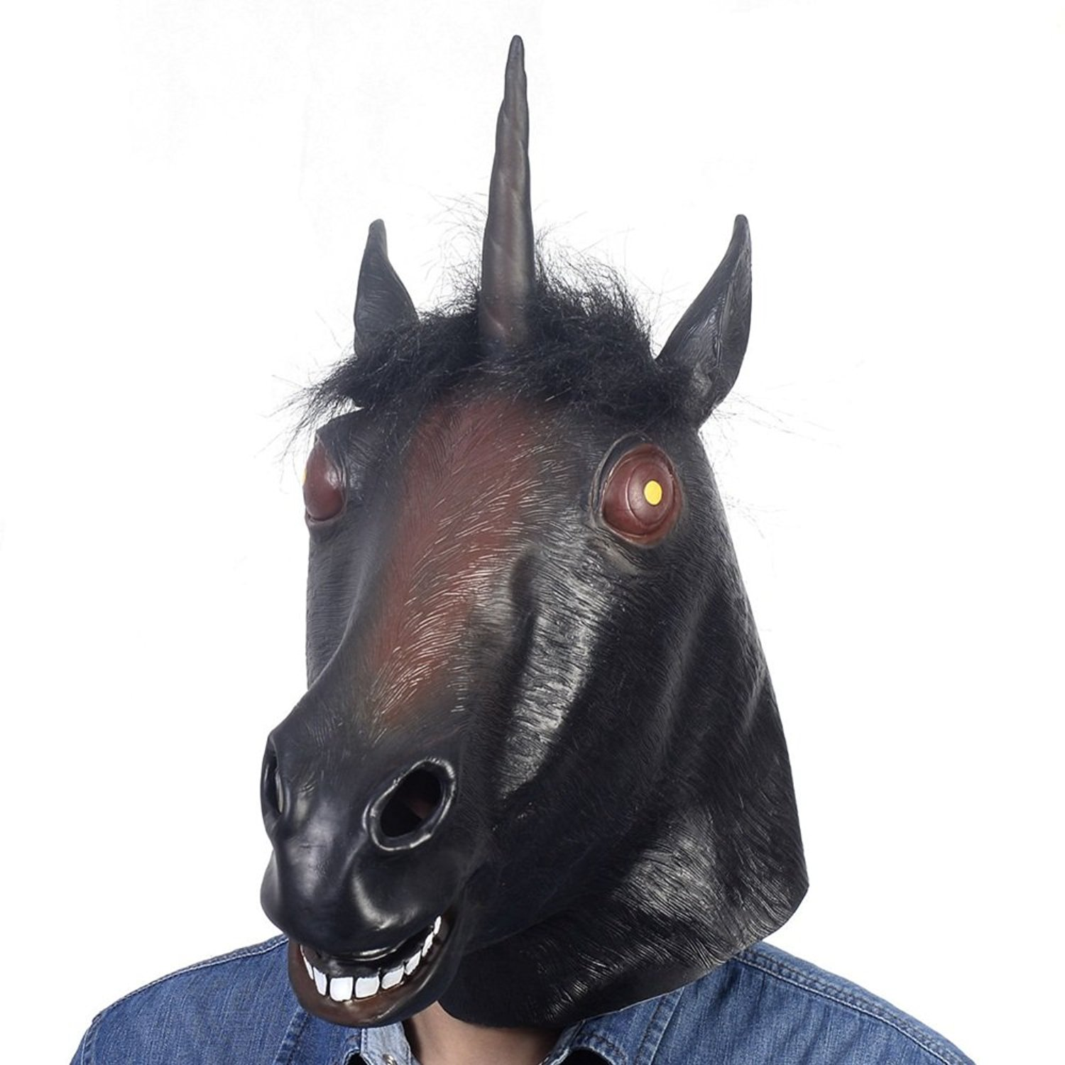 5ef2168c5a5e9 Get Quotations · Evil Unicorn Head Mask Black Latex Fun Party Rubber Animal  Costume Theater Prop Novelty