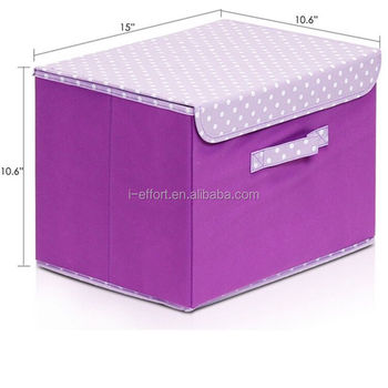 Handle With Cover Purple Fabric Foldable Cube Fabric Storage Box