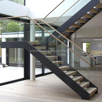 Oak Wood Step Galvanized Steel Prefab Stair Duplex House Stairs