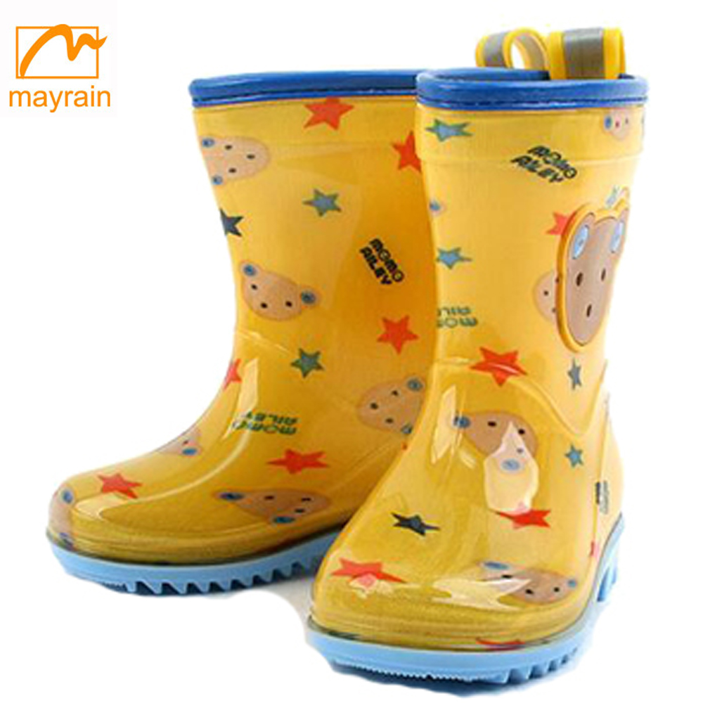SunRain Waterproof Rubber Rain Boots for Boys Durable Outdoor Mud Boots for Kids Mid Calf Garden Shoes