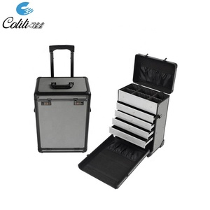 Black durable flight aluminum mechanic trolley tool box with drawers