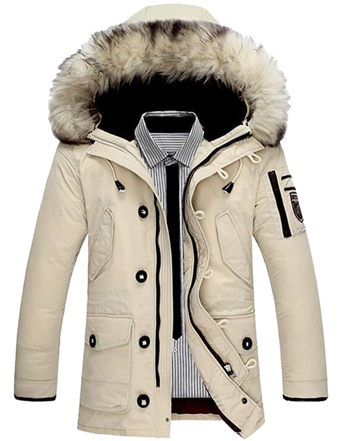 Pivaconis Mens Warm Thicken Chinese Style Quilted Down Padded Jacket