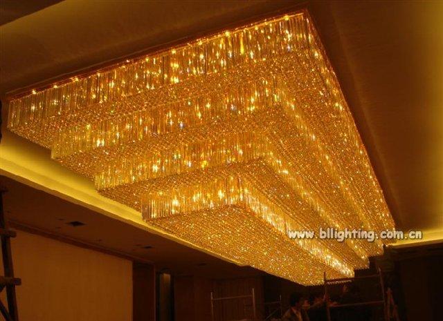 Modern Crystal Lobby Rectangular Chandelier