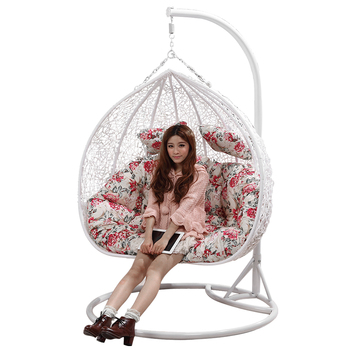 Merveilleux Two Person Seat Outdoor Indoor Rattan Wicker Hanging Swing Egg Chair With  Stand