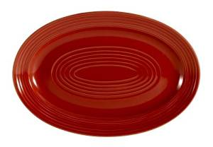 CAC China TG-13R Tango 11-3/4-Inch by 8-Inch Red Porcelain Oval Platter, Box of 12 by CAC China