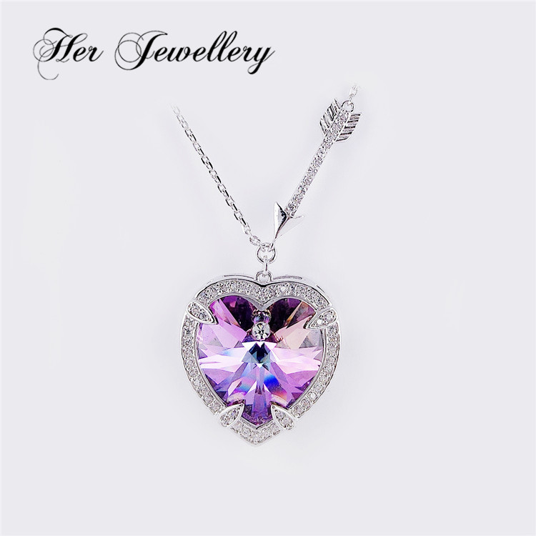 Her Jewelry heart crystal pendant necklace in Swarovski wholesale for girl from Guangzhou HSP0083