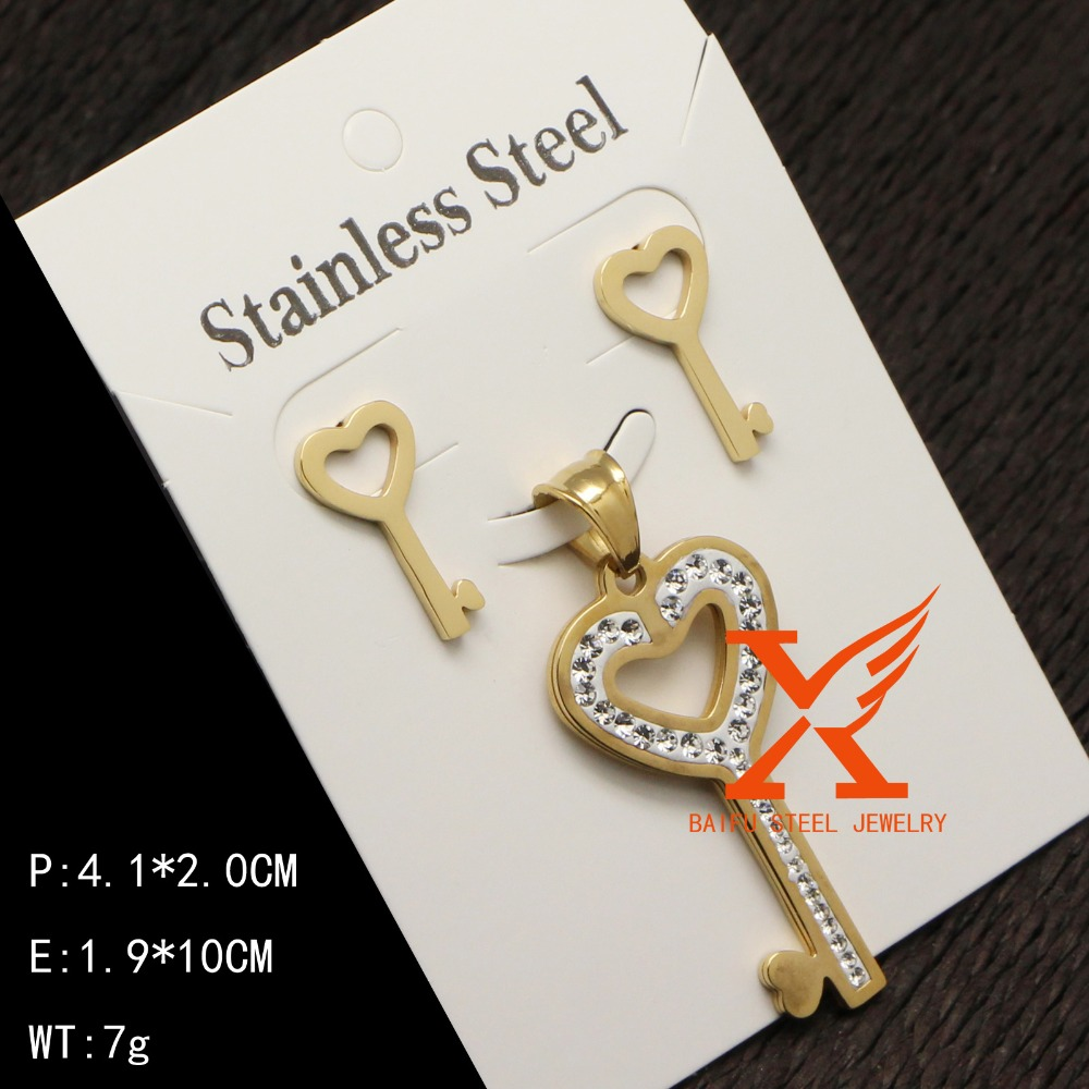 Wholesale Jewelry Sets Women Lover Lock Key Design Stainless Steel Jewelry Sets for Woman