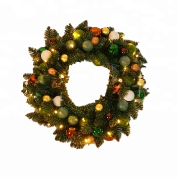 Wholesale Led light artificial flower Xmas decoration green garlands Christmas Wreath