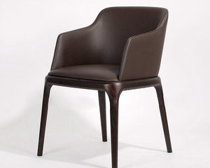 Modern Genuine Leather solid wood grace Dining Chair for home