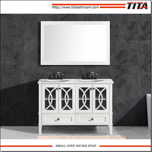 Elegant white lacquer solid wood bathroom vanity cabinet T9313-60W/72W