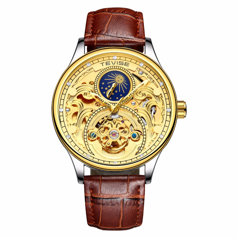 New coming gold genuine leather automatic men's watch fashion watches china Men relojes hombre, Any color are available