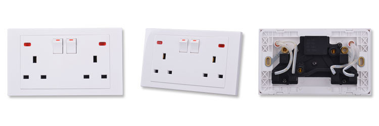 Popular design double socket plate for UK plugs press neon button