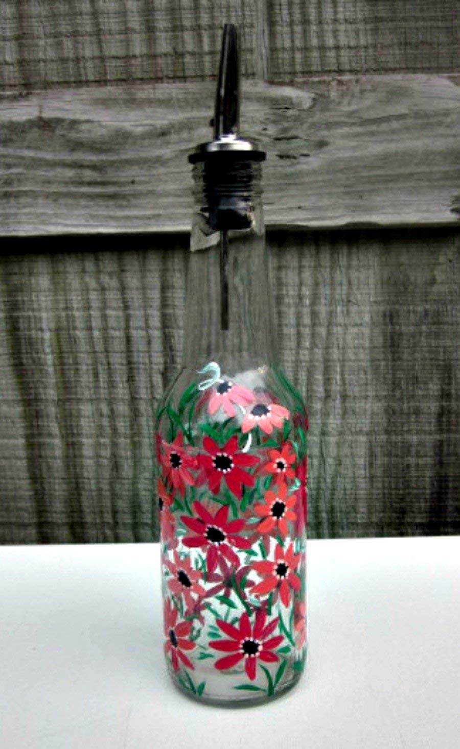 Dish Soap Dispenser, Oil and Vinegar Bottle, Hand Painted Glass Bottle, Kitchen Decoration, Shades of Coral Flowers