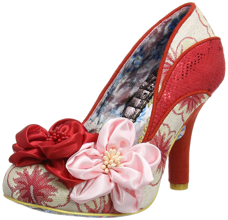 64f447f97ce Get Quotations · Womens Irregular Choice Peach Melba Work High Heel Floral  Court Shoes