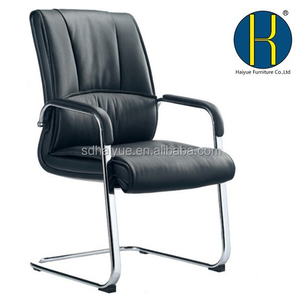 HY2306 Stable Metal Leather Chair, Durable Meeting Conference Office Chair, Leather Metal Visitor Chair