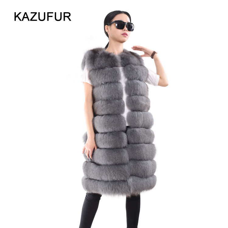 Russian Custom leather vests real fox fur vest for women sleeveless fur vest