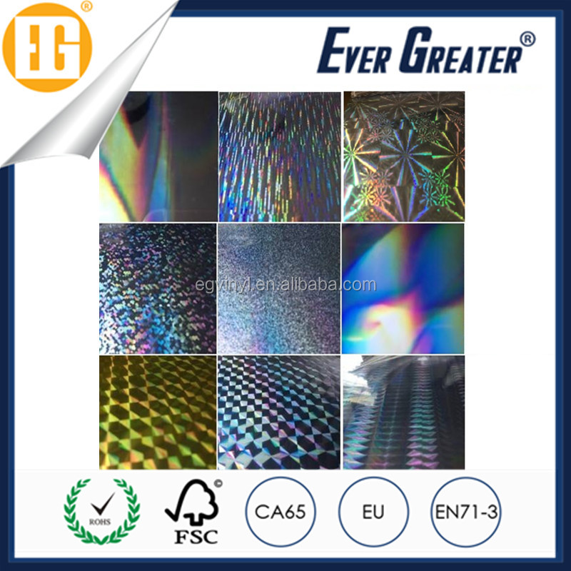 Heat Resistant Metalized Hologram Film Holographic Vinyl Film Roll Self Adhesive for Car Auto Printing- Multi Pattern