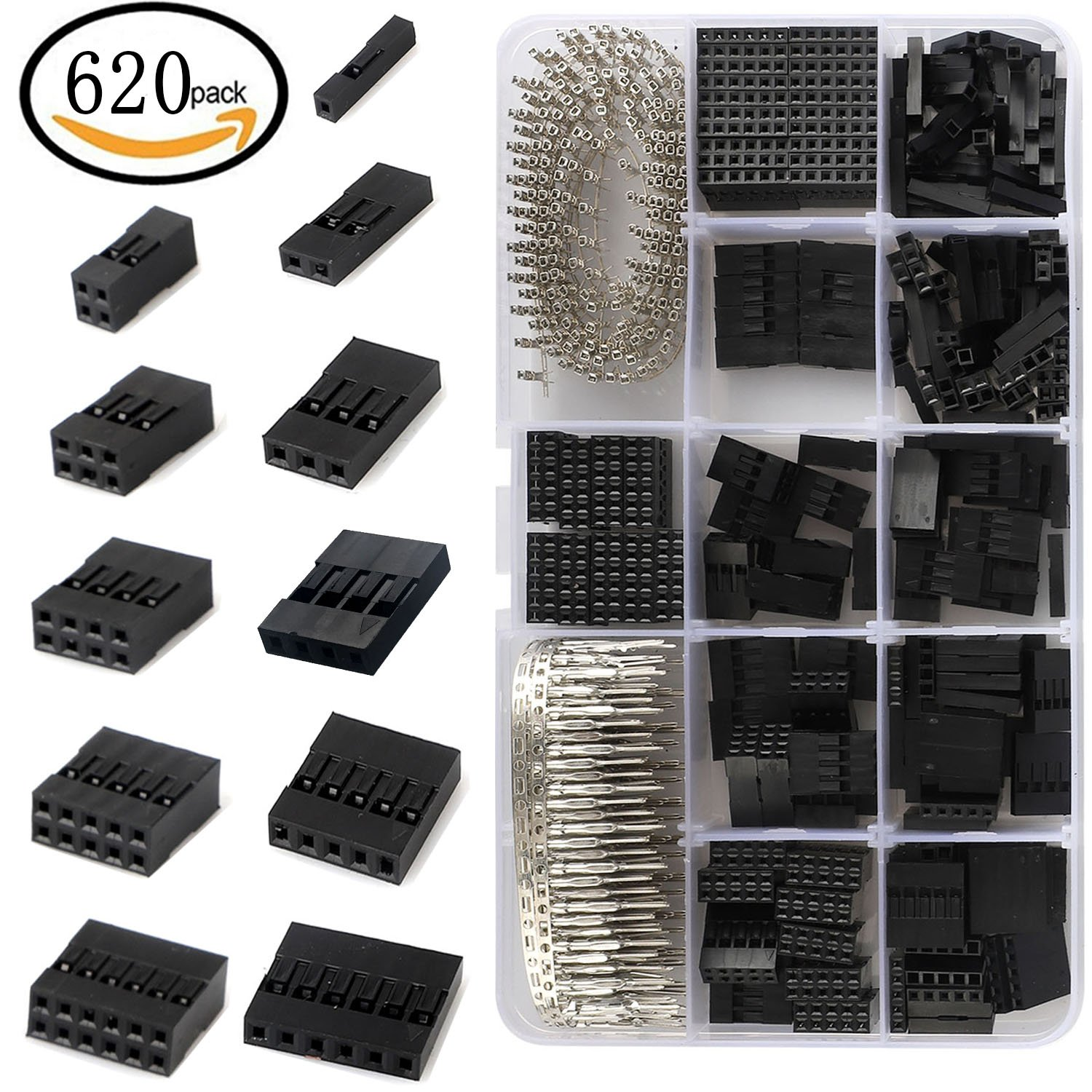 620 PCS 2.54mm Pitch JST SM - 1/2/3/4/5/6 Plug Housing Connector Pitch Dupont Connector Male Female Crimp Pins Assortment Kit
