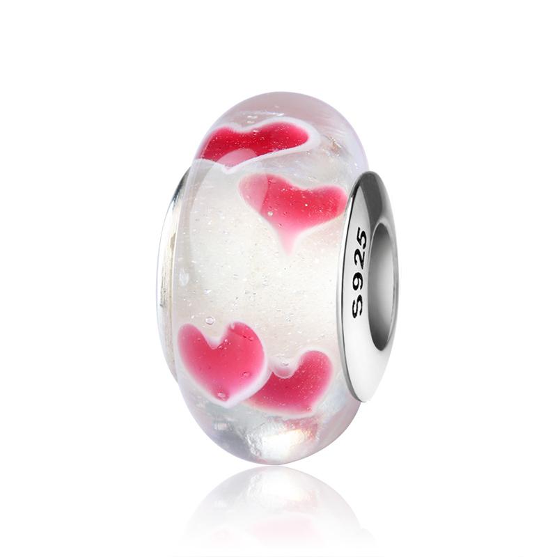 Wholesale Lots European Beads Pink Rhinestone Love Heart Fit Charm Bracelets GW
