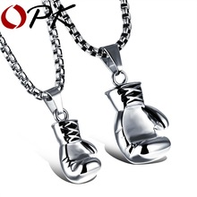OPK Gold/Black/Silver Fashion Mini Boxing Glove Necklace Boxing Jewelry Stainless Steel Cool Pendant For Men Boys Gift GX1018