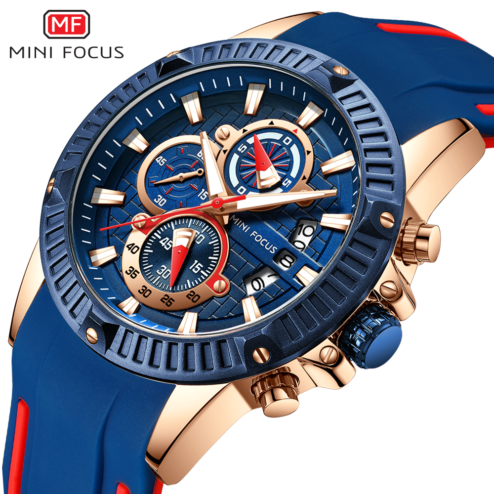 Mini Focus 2019 Man Fashion Horloge Blue Rose Goud Rubberen Band 3D Bolt 3 Wijzerplaten Waterdicht Top Merk Luxe Sport heren Horloges
