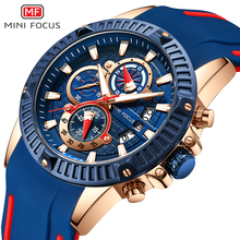 Mini Focus 2019 Man Fashion Watch Blue Rose Gold Rubber Strap 3D Bolt 3 Dials Waterproof Top Brand Luxury Sports Mens Watches