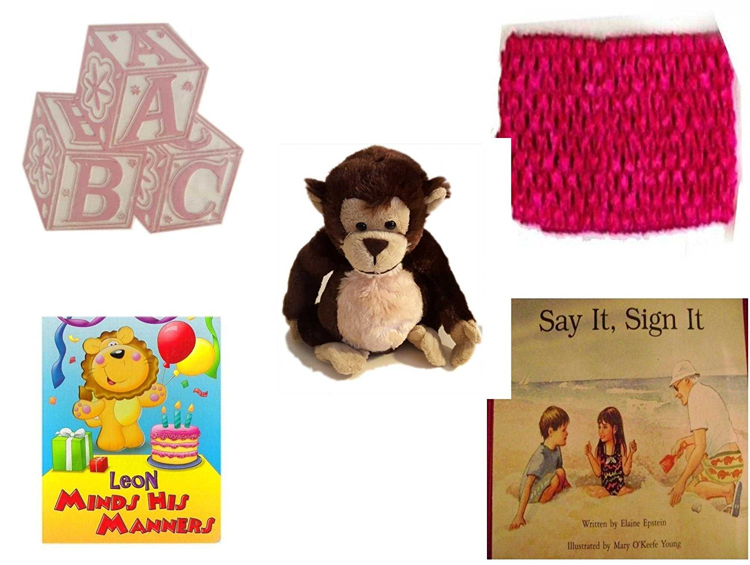 Children's Gift Bundle - Ages 0-2 [5 Piece] - ABC Baby Blocks Cake Topper Pink Girl - Baby Crochet Headband Fuchsia - Ganz Adorable Chimpanzee Plush - Leon Minds His Manners Board Book - Say It, Sig