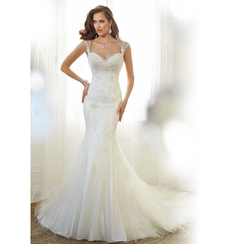 Wedding Dresses Bridal Gowns Vestido de noiva 2015 Lace Mermaid Wedding Dress Strapless Neckline Elegant N136