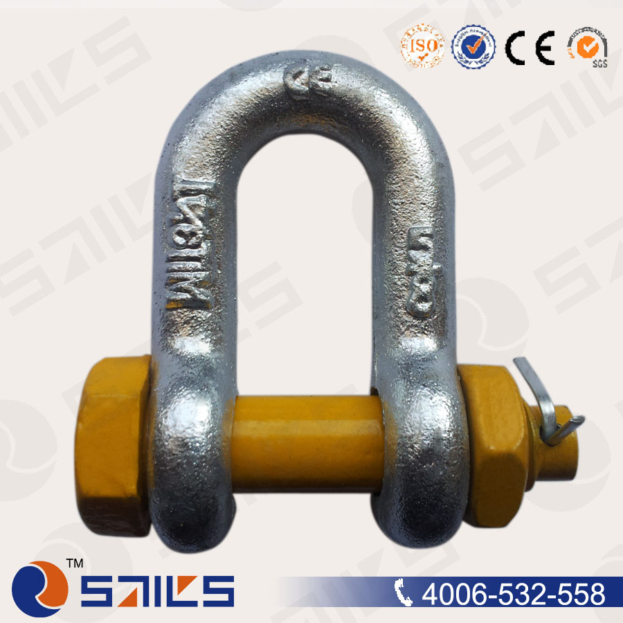 Adjustable D Wire Rope Slings Chain Safety Pin D Shackle For Anchor ...