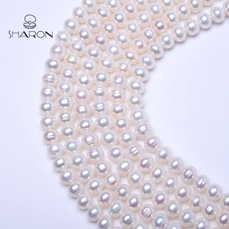 Wholesale AAA China 10-11mm White Flat Round Cultured Freshwater Loose Glass Pearl Beads