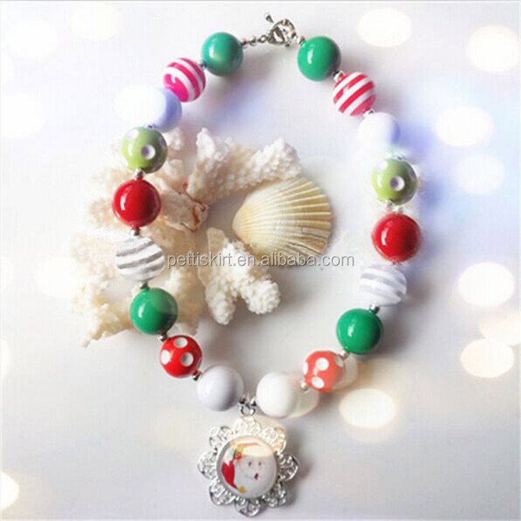wholesale Girl's necklace handmade plastic bead cheap plastic bead necklace for children