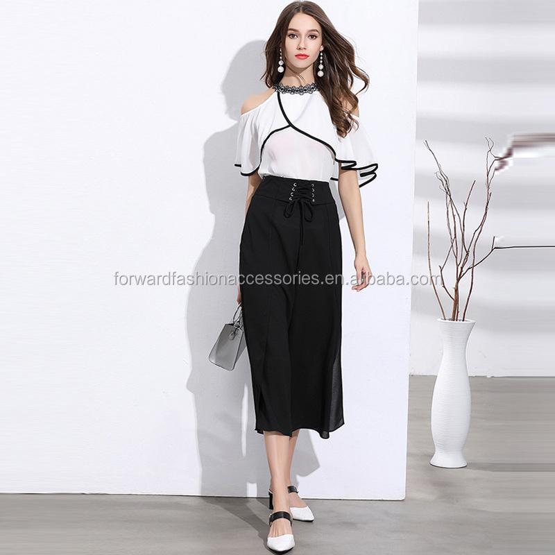 134b89c749238 Moda mujer moderna frío hombro blusa de las mujeres simples Oficina  Ejecutiva conjuntos de ropa