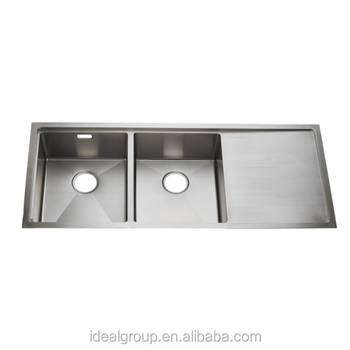 Undermount Stainless Steel Double Bowl With Drain Board Handmade Kitchen  Sink - Buy Stainless Steel Handmade Kitchen Sink,Double Bowl With Drain  Board ...