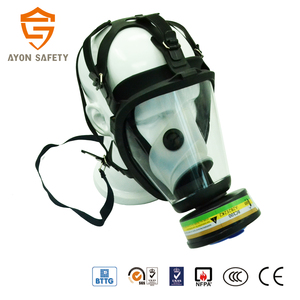 cone silicone air purifying respirator, chemical protective military full face respiratory mask with double protection filter