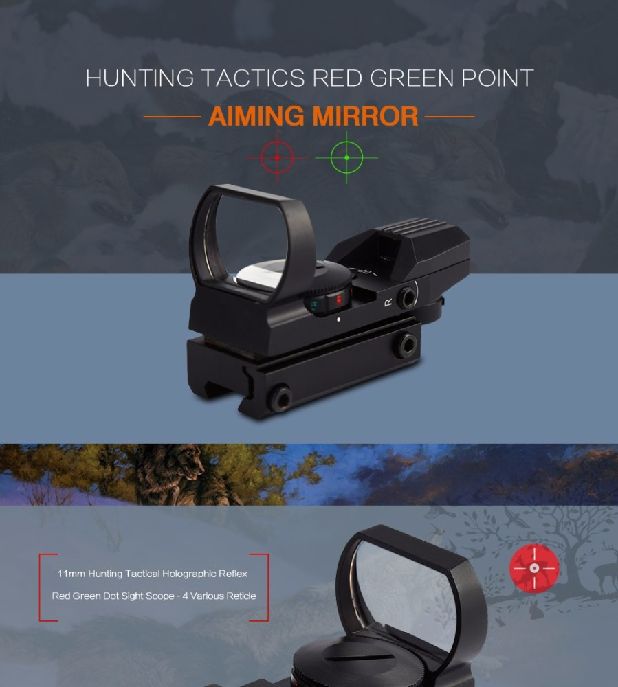 Hunting Scope Riflescope Tactical Holographic Red Green Dot Sight Scope 11mm 4 Various Reticle Sight Scope