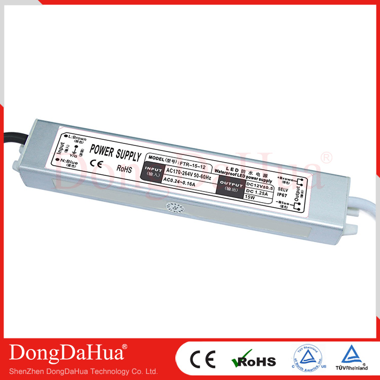 FTR series EN55022 class A standard 12V 15W waterproof power supply IP67 for LED lamps economy