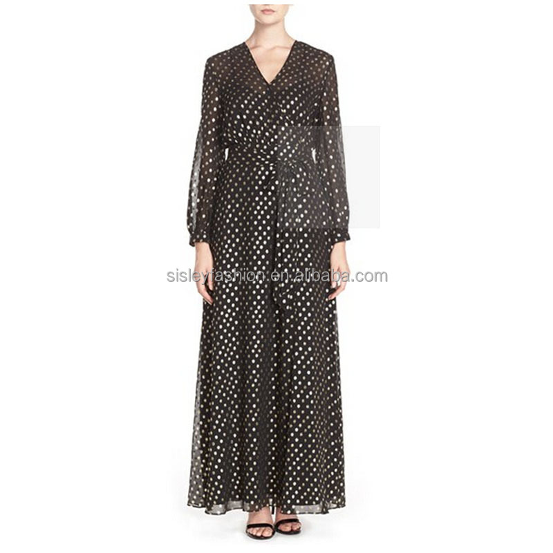 New arrival long sleeve dress v neck dress elegant maxi dree chiffion dress with pattern