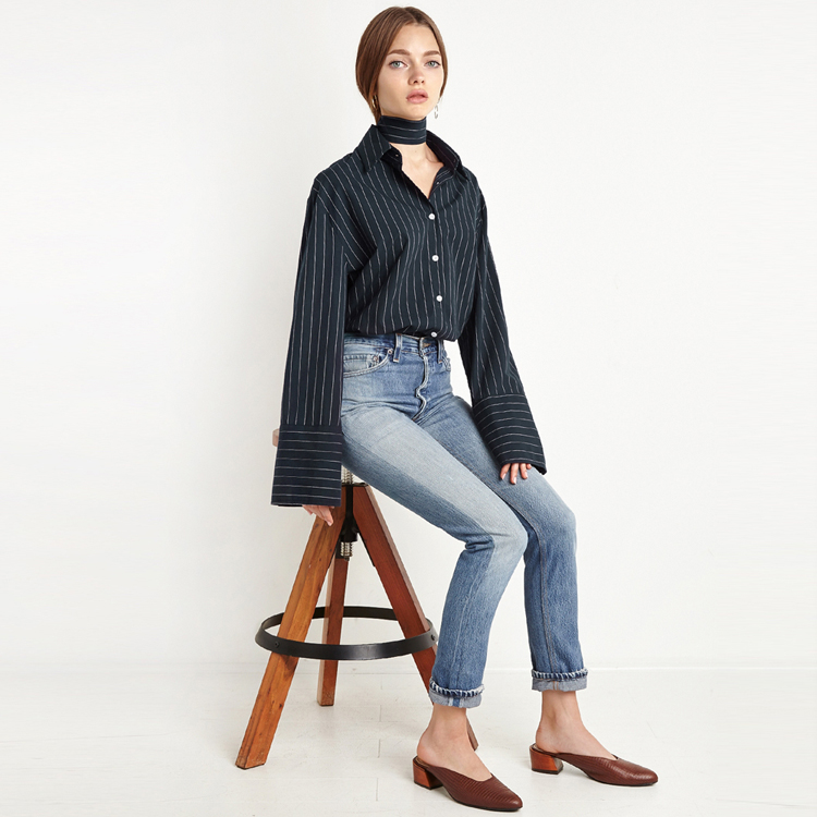 HAODUOYI Fashion Women Stripes Shirts Tie Back Single Breasted Blouse Turn-Down Collar Long Sleeve Basic Shirt for Wholesale