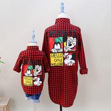 Moda de nova mãe e filha xadrez blusa camisa verão tops monther e filha combinando roupa dos miúdos roupas de menina