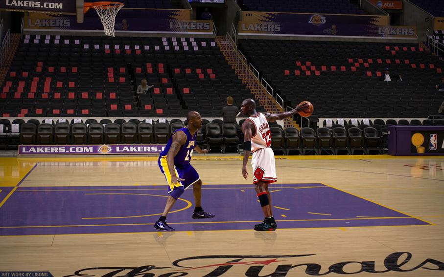 Nba Wallpaper Home: P0721 Kobe Bryant Vs Michael Jordan NBA WALLPAPER Poster