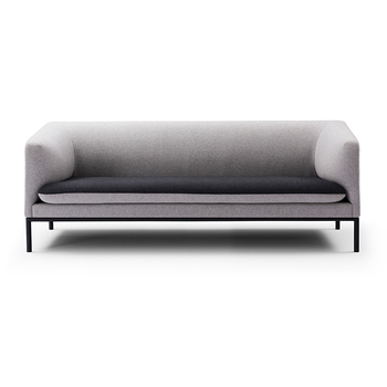modern scandinavian upholstered fabric sofa with steel legs
