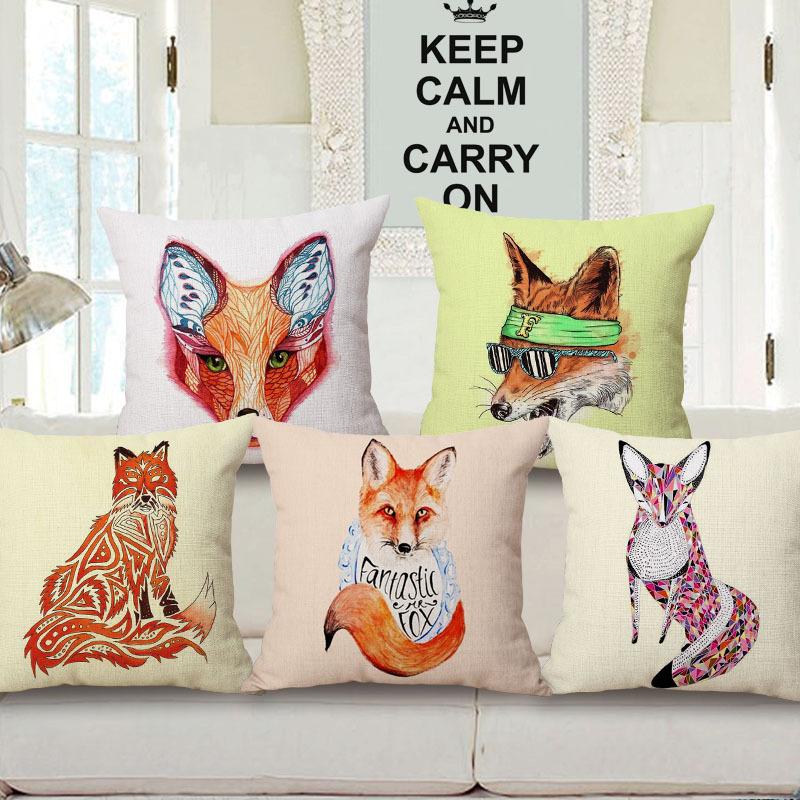 45cm 200g Boho Orange Fox Pop Thick Type Fashion Cotton Linen Throw Pillow Hot Sale 18 Inch New Home Decor Sofa Back Cushion MQQ