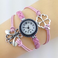 Colorful Women Lady Kids China Watch Leather Strap