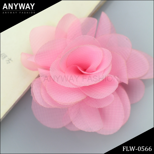 Organza Ribbon Flower Appliques Organza Lime Pink Flower - 3 layers