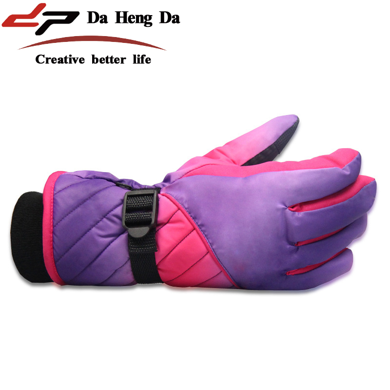 Winter female thick warm outdoor ski waterproof wind riding gloves