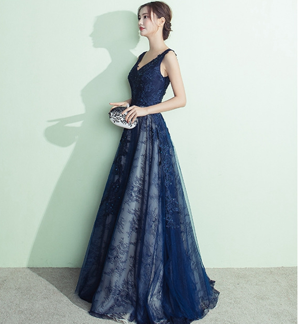 V คอ backless appliques elegant ชุด royal blue mother of the bride ชุดราตรี